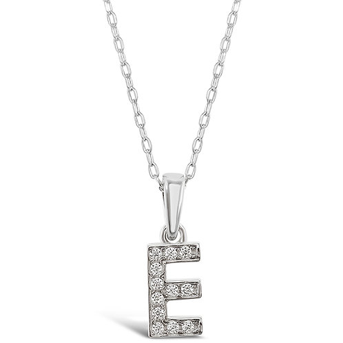 Bitter Sweet Sterling Silver Cubic Zirconia Initial E Necklace 135921