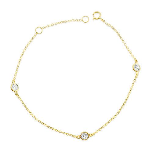 Bitter Sweet Gold Plated Sterling Silver Cubic Zirconia Bezel Bracelet 143316