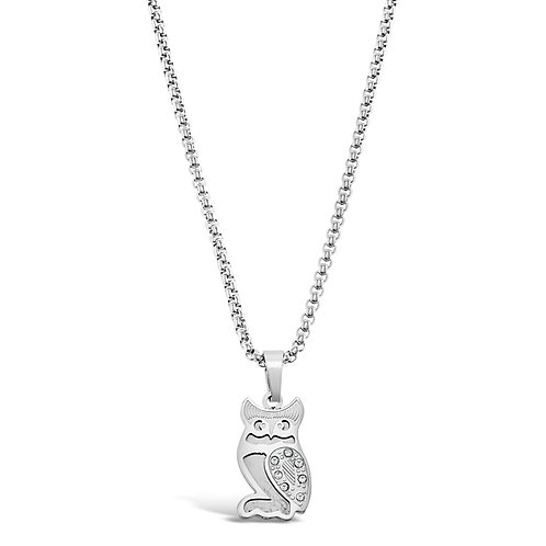 Bitter Sweet Jewellery Stainless Steel Silver Owl Necklace 136310