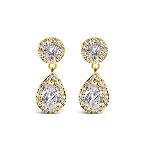 Bridal Gold Cubic Zirconia Drop Earrings 143587
