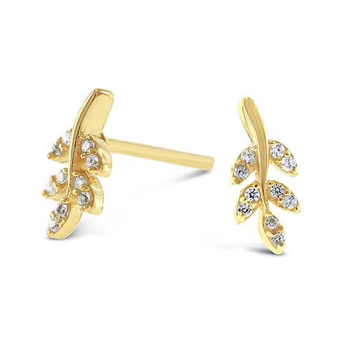 Bitter Sweet Gold Plated Sterling Silver Cubic Zirconia Leaf Earrings 143300