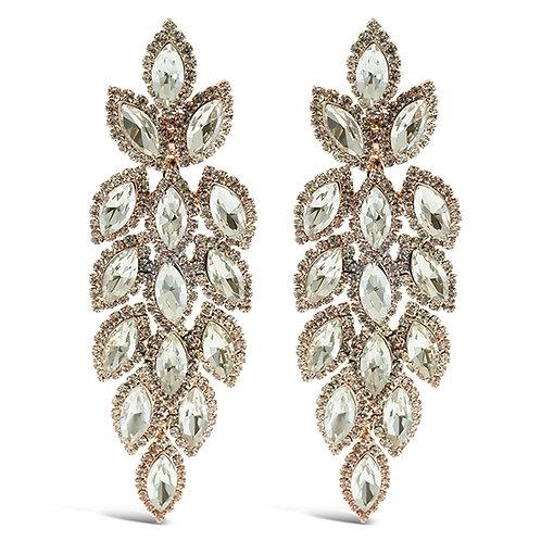 Fashion Rose Gold Crystal Leaf Drop Earrings 141003
