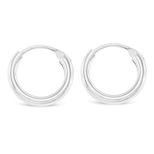 Bitter Sweet Sterling Silver Plain 12mm Hoops Earrings 141783