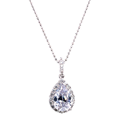 Bitter Sweet Sterling Silver Cubic Zirconia Tear Necklace 124199