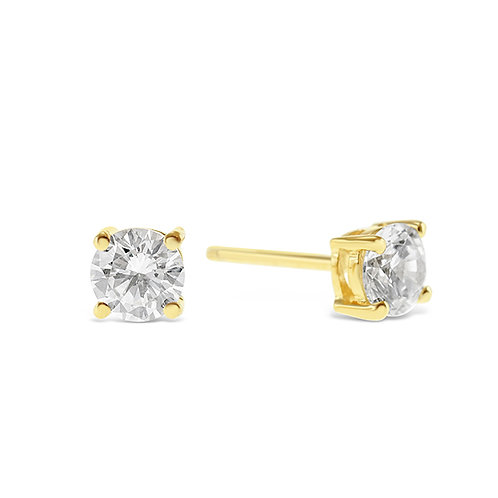 Bitter Sweet Gold Plated Sterling Silver Cubic Zirconia 8 Hearts 8 Arrows 5mm Studs 143345