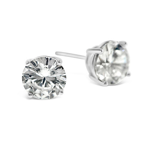 Bitter Sweet Sterling Silver Cubic Zirconia Round 6mm Studs 001457