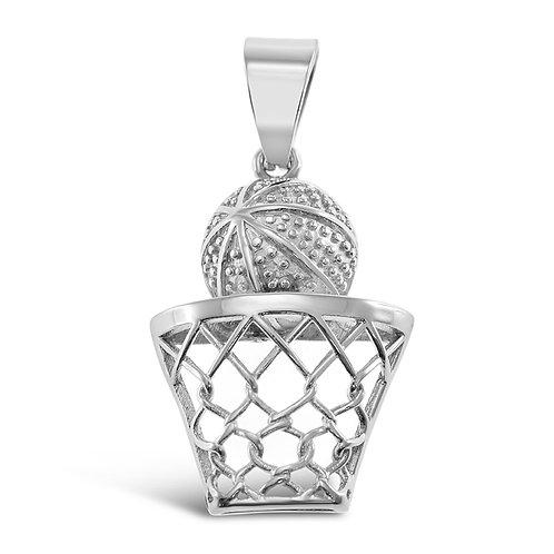 Bitter Sweet Jewellery Stainless Steel Silver Basketball Pendant 142525