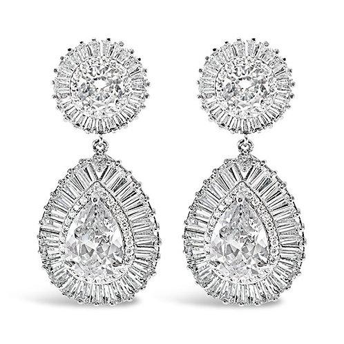 Bitter Sweet Bridal Silver Cubic Zirconia Tear Drop Earrings 127861