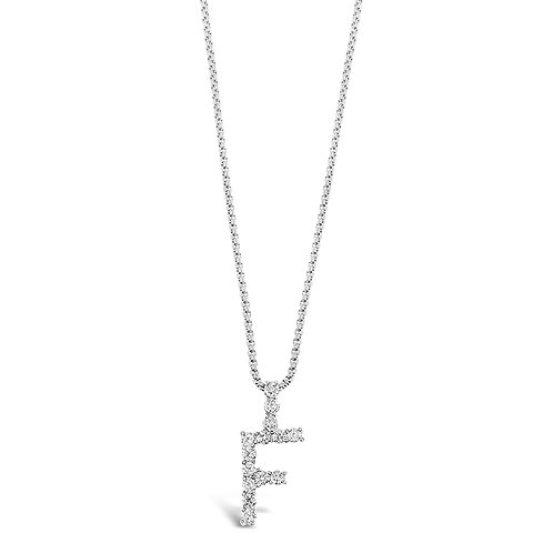 Bitter Sweet Jewelery Stainless Steel Cubic Zirconia Initial F Necklace 142314