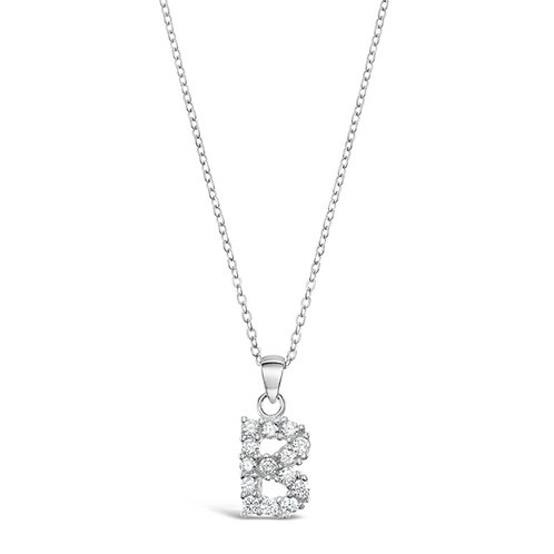 Sterling Silver Cubic Zirconia Initial B Necklace
