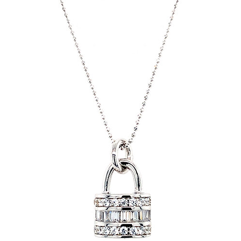 Bitter Sweet Sterling Silver Cubic Zirconia Lock Baguette Necklace 143508