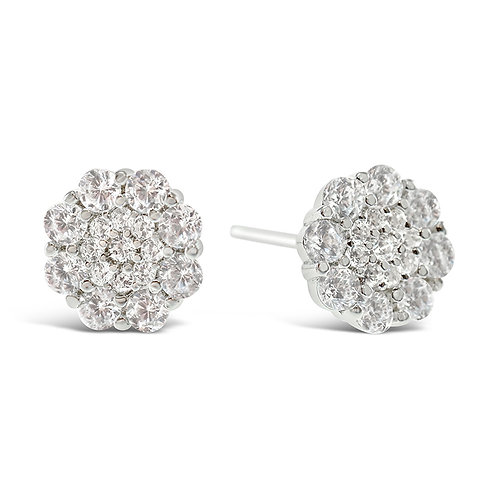 Sterling Silver Cubic Zirconia Flower Earrings 141776