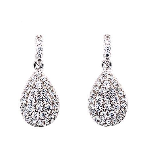 Bitter Sweet Sterling Silver Cubic Zirconia Teardrop Earrings 132025