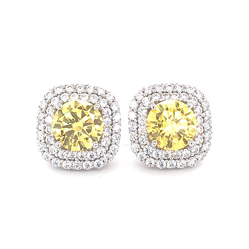 Bitter Sweet Sterling Silver Cubic Zirconia Square Studs 141392