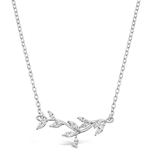 Bitter Sweet Sterling Silver Cubic Zirconia Leaf Necklace 141806