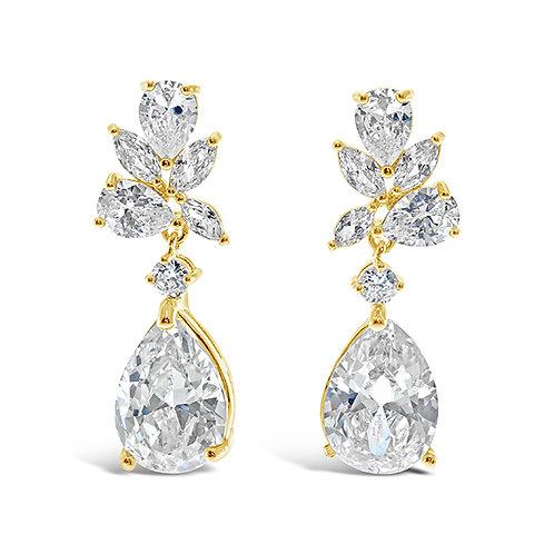 Gold Cubic Zirconia Tear Drop Earrings 137416