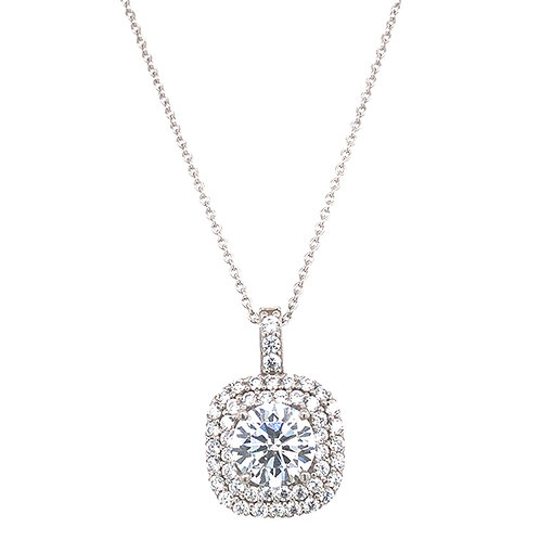 Bitter Sweet Sterling Silver Cubic Zirconia Square Necklace 141394