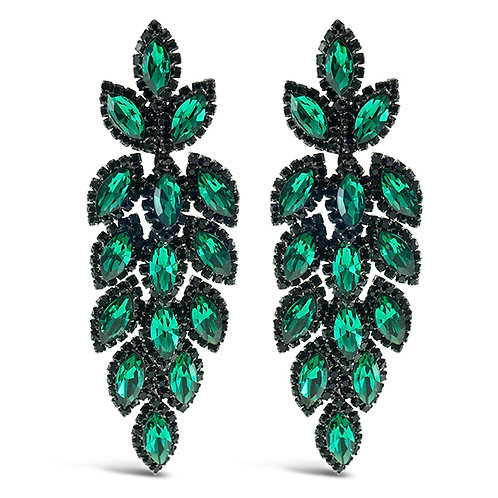 Fashion Green Crystal Leaf Drop Earrings 140983