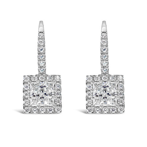 Sterling Silver Cubic Zirconia Square Earrings 141453