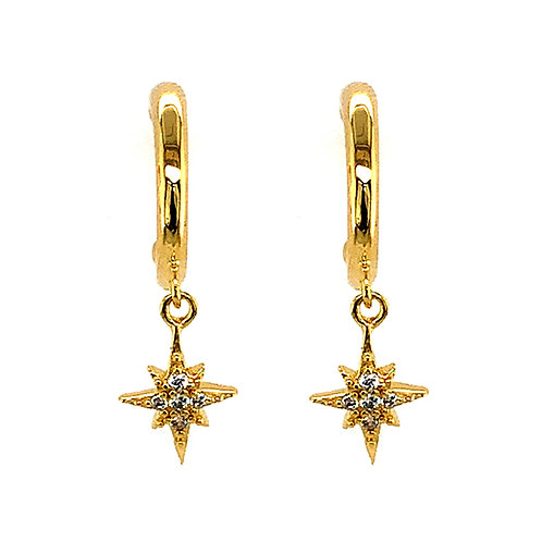 Bitter Sweet Gold Plated Sterling Silver Cubic Zirconia Star Hoop Earrings 143549
