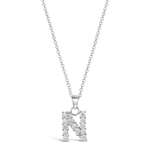 Sterling Silver Cubic Zirconia Initial N Necklace