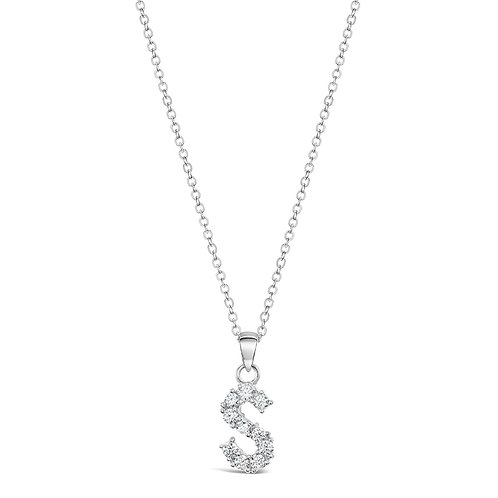 Sterling Silver Cubic Zirconia Initial S Necklace