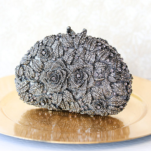 Black Rose Crystal Clutch 121314