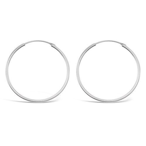 Bitter Sweet Sterling Silver Plain 25mm Hoops Earrings 141786