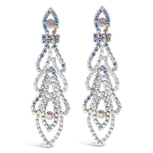 Rhinestones Silver Chandelier Earrings 142174