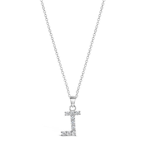 Sterling Silver Cubic Zirconia Initial J Necklace