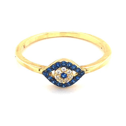 Gold Plated Sterling Silver Cubic Zirconia Evil Eye Ring 139427