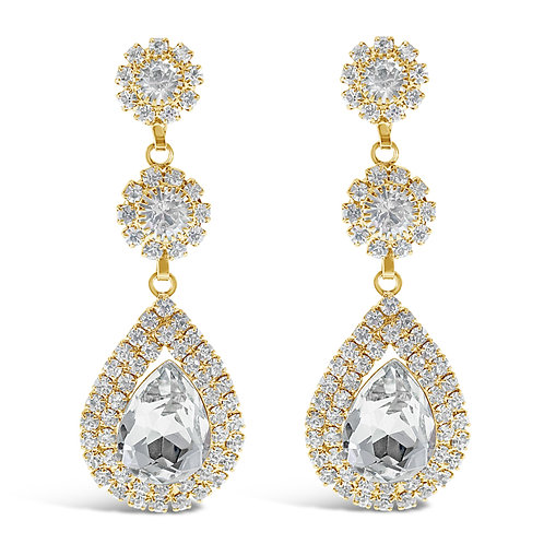 Fashion Gold Rhinestones Tear Drop Earrings 142180
