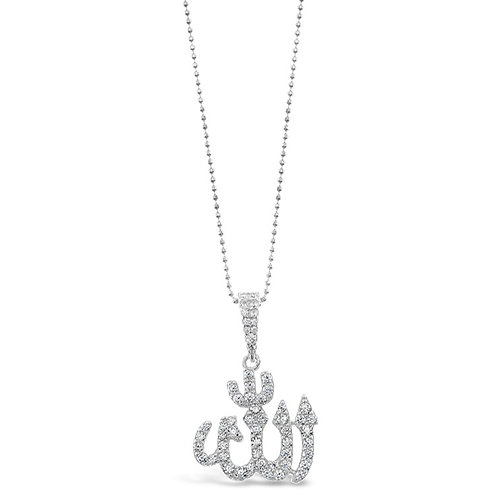 Bitter Sweet Sterling Silver Cubic Zirconia Allah Necklace 142548