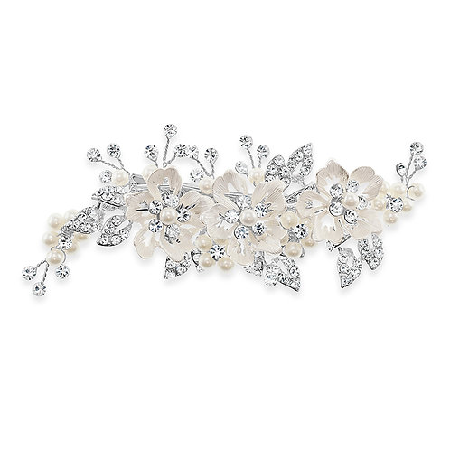 Bridal Silver Flower Hair Clip 142042