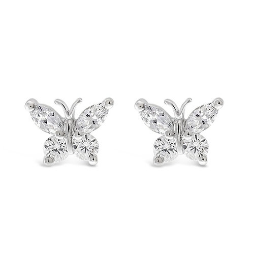 Bitter Sweet Sterling Silver Cubic Zirconia Butterfly Earrings 118624