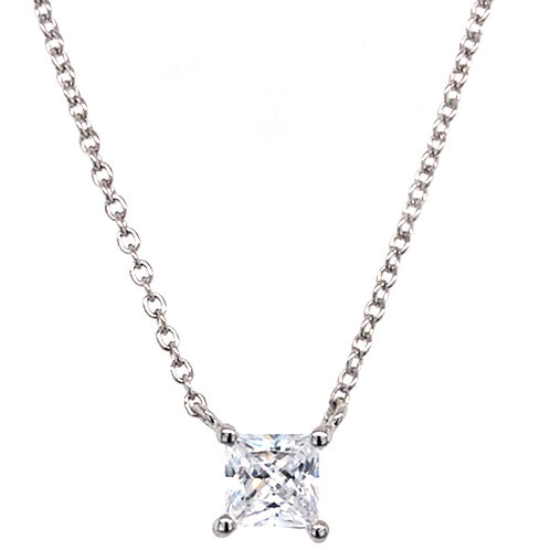 Bitter Sweet Sterling Silver Cubic Zirconia Princess Cut Necklace 143476