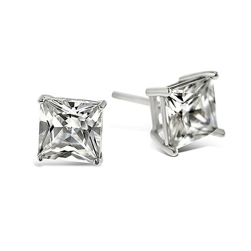 Bitter Sweet Sterling Silver Cubic Zirconia Square 5mm Studs 001467