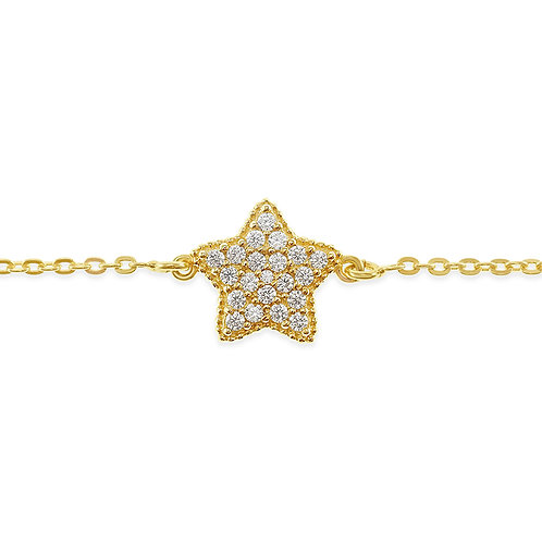 Bitter Sweet Gold Plated Sterling Silver Cubic Zirconia Star Bracelet 141840