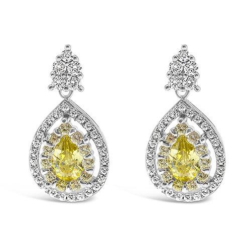 Sterling Silver Cubic Zirconia Yellow  Drop Earrings 130274