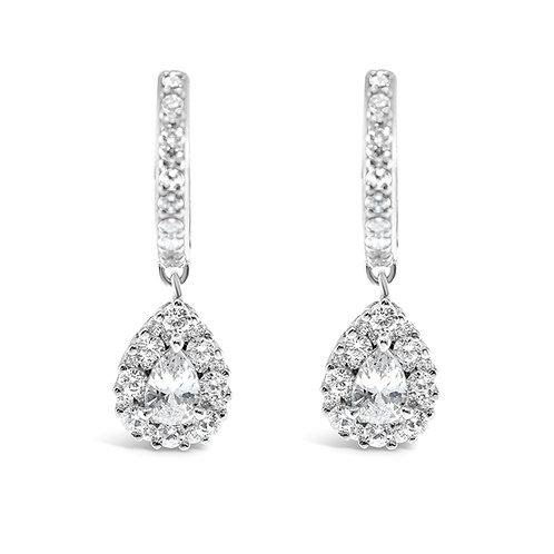 Sterling Silver Cubic Zirconia Tear Drop Earrings 140114