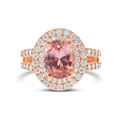 Rose Gold Plated Sterling Silver Cubic Zirconia Ring 132097