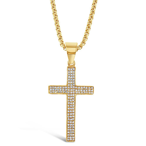 Bitter Sweet Stainless Steel Gold Cross Necklace 136324