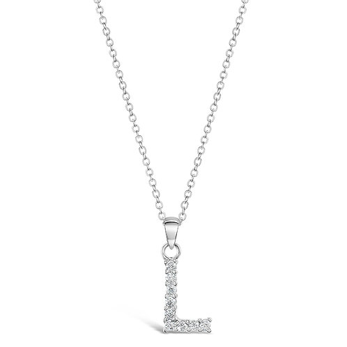 Sterling Silver Cubic Zirconia Initial L Necklace