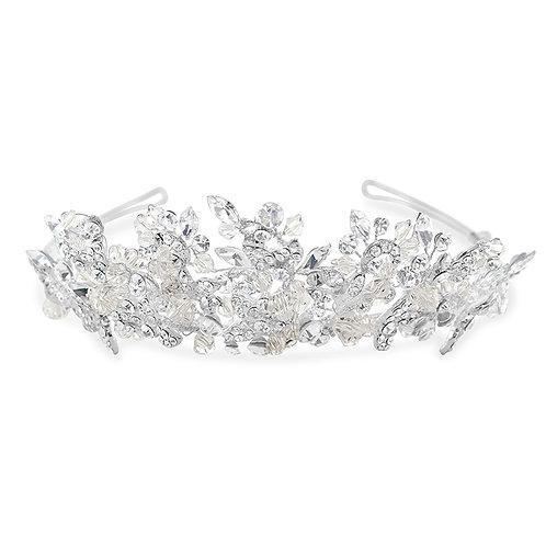 Bridal Silver Flower Tiara 142058