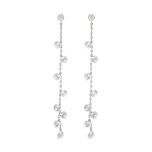 Sterling Silver Cubic Zirconia Long Earrings 143189