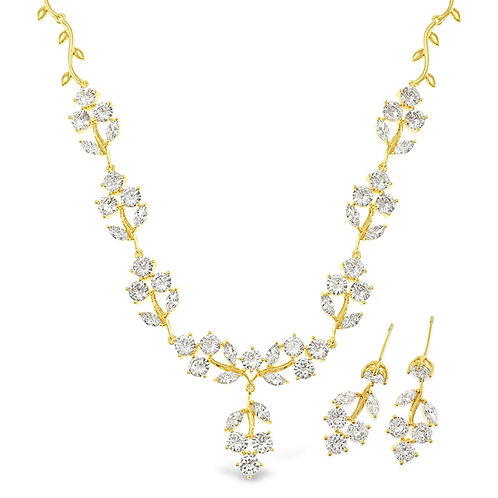 Bitter Sweet Bridal Gold Cubic Zirconia Necklace & Earrings Set 142901