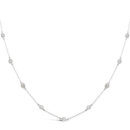 Bitter Sweet Sterling Silver Cubic Zirconia Bazel Necklace 143312