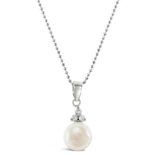 Bitter Sweet Sterling Silver Cubic Zirconia Pearl Necklace 143285