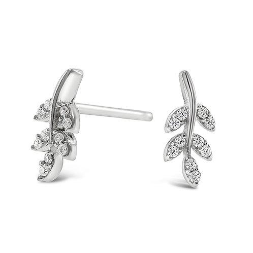 Bitter Sweet Sterling Silver Cubic Zirconia Leaf Earrings 143299