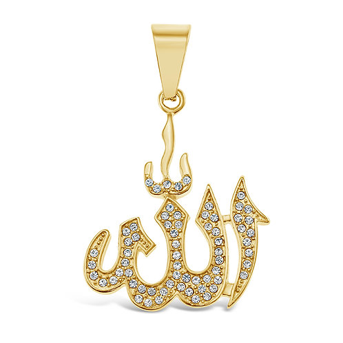 Bitter Sweet Jewellery Stainless Steel Gold Crystal Allah Pendant 142520